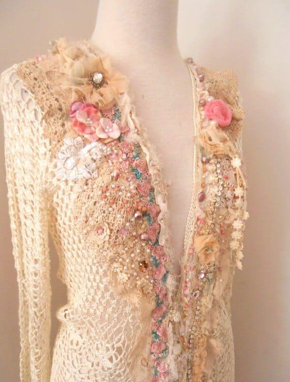 upcycled altered crochet art