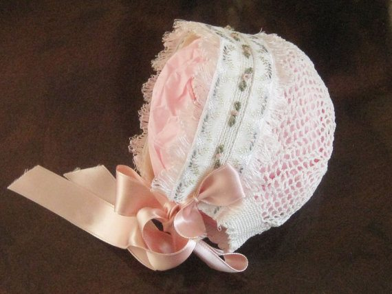 upcycled crochet baby bonnet