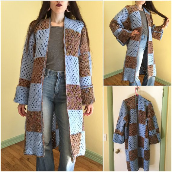 upcycled crochet blanket jacket