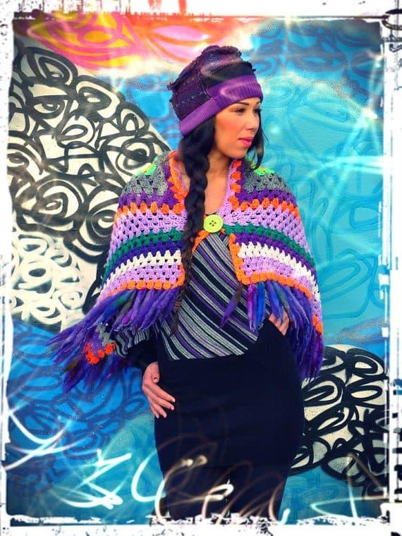 upcycled crochet blanket poncho