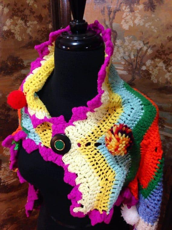 upcycled crochet blanket shawl