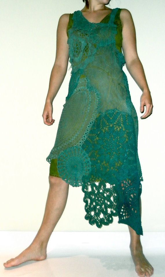 upcycled crochet doily dress