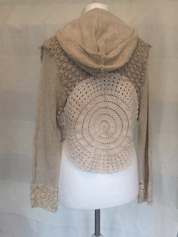 upcycled crochet doily hoodie