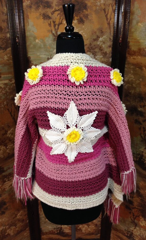 upcycled crochet flower shawl
