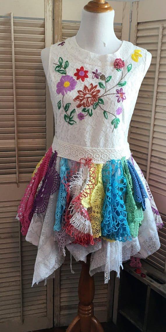 upcycled rainbow crochet doily dress