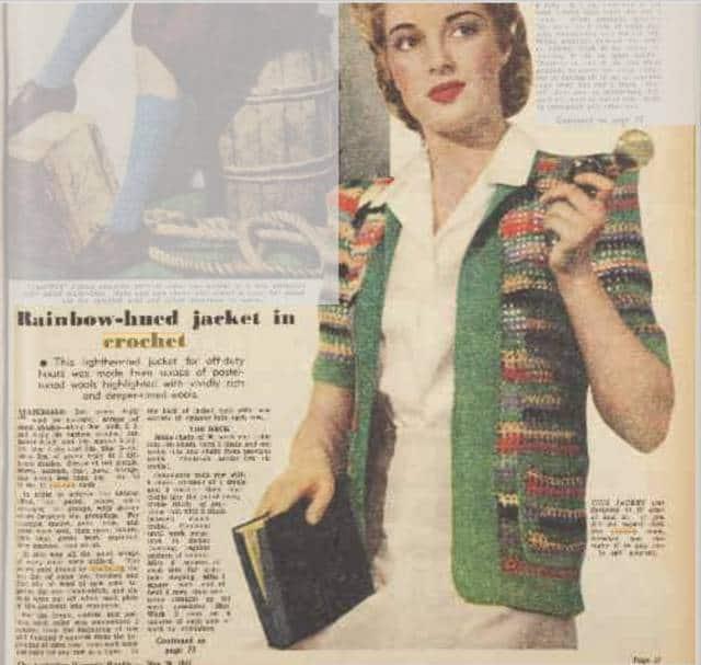 vintage 1944 rainbow crochet jacket