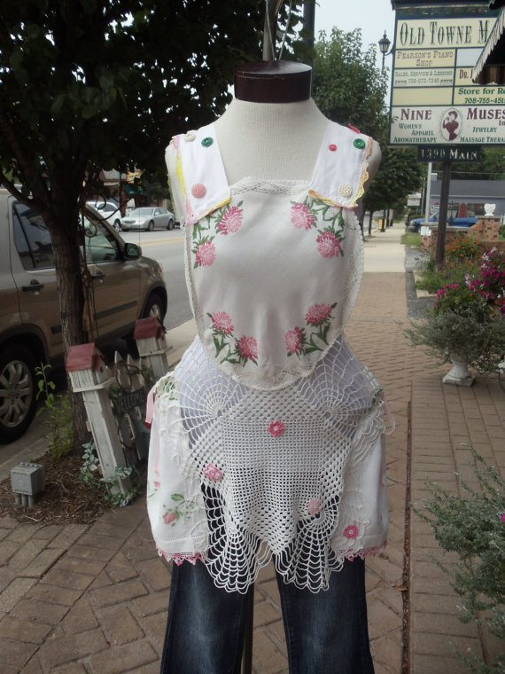 vintage upcycled crochet and fabric top