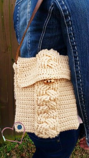 cable crochet purse