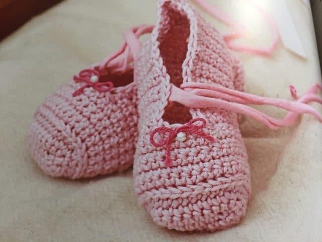 crochet baby shoes ballerina