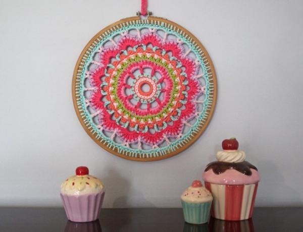 crochet embroidery hoop art