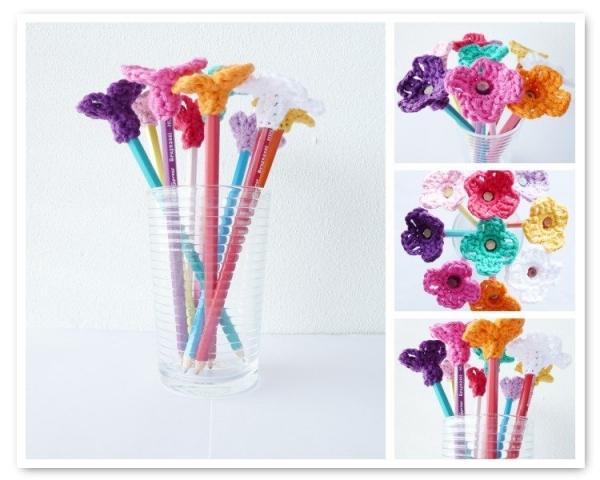 crochet flower pencil toppers