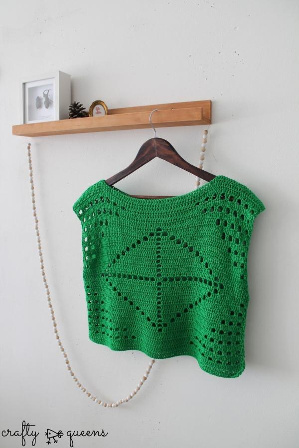 filet crochet shirt free pattern
