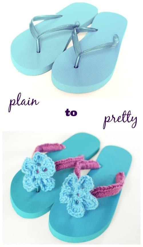 floral crochet flip flops tutorial