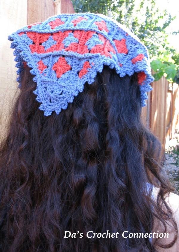 granny square crochet bandana free pattern
