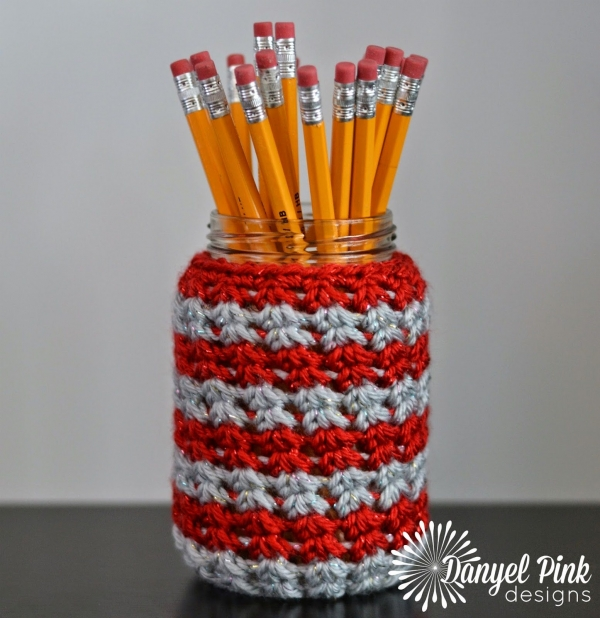 school spirit crochet jar cozy
