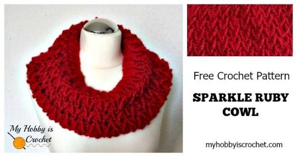 sparkle crochet cowl free pattern