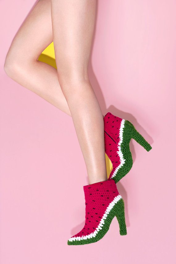 watermelon crochet shoes