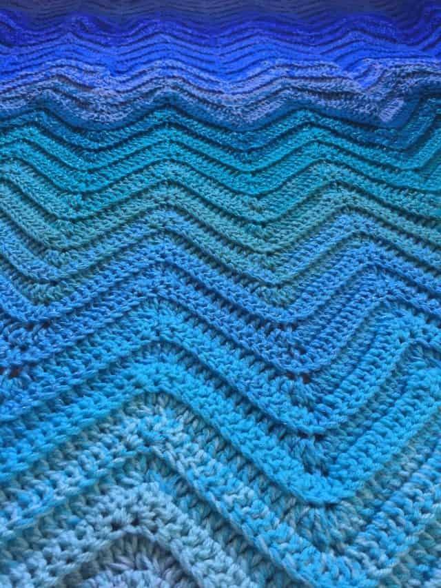 Blue Ombre Chevron Crochet Blanket