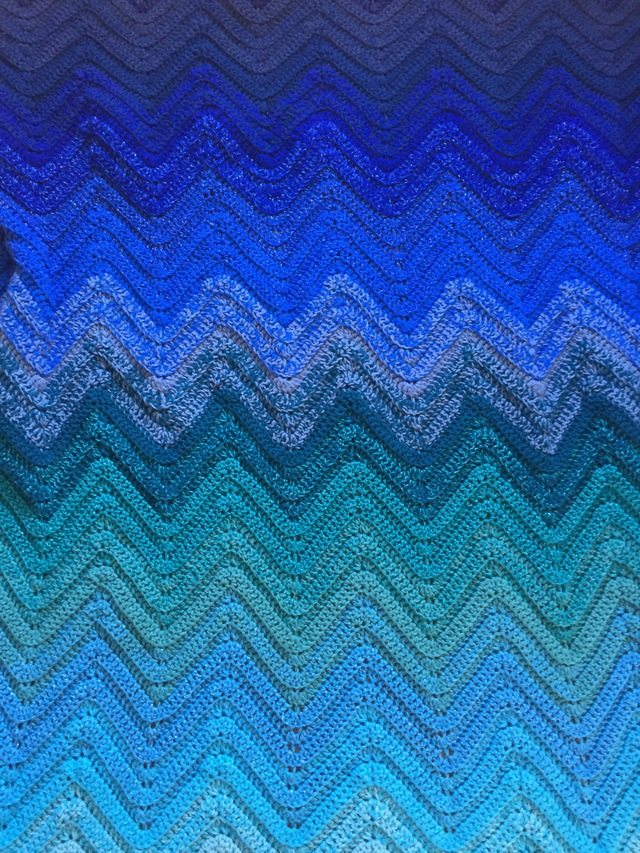 Blue Ombre Chevron Crochet Blanket 6