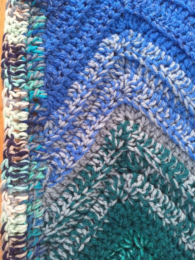 Blue Ombre Chevron Crochet Blanket 9