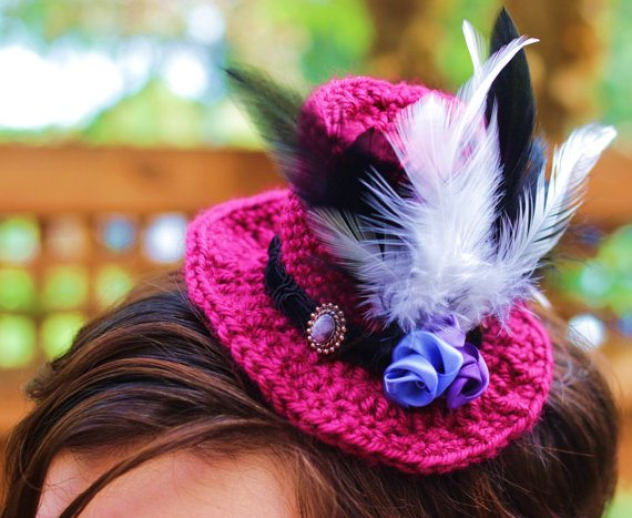 crochet top hat fascinator