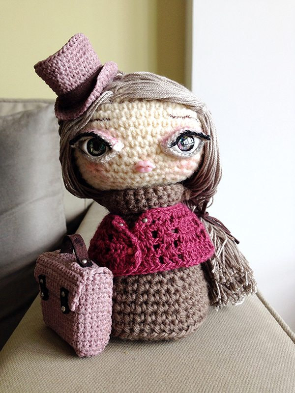 steampunk crochet art doll