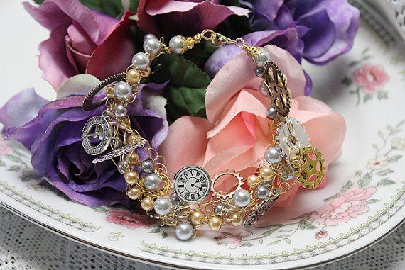 wire crochet steampunk bracelet