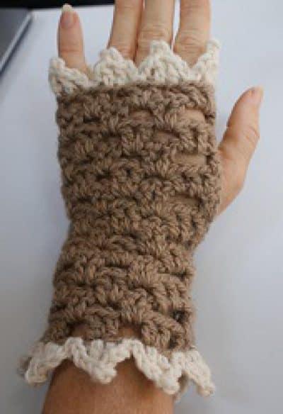 v-stitch crochet gloves