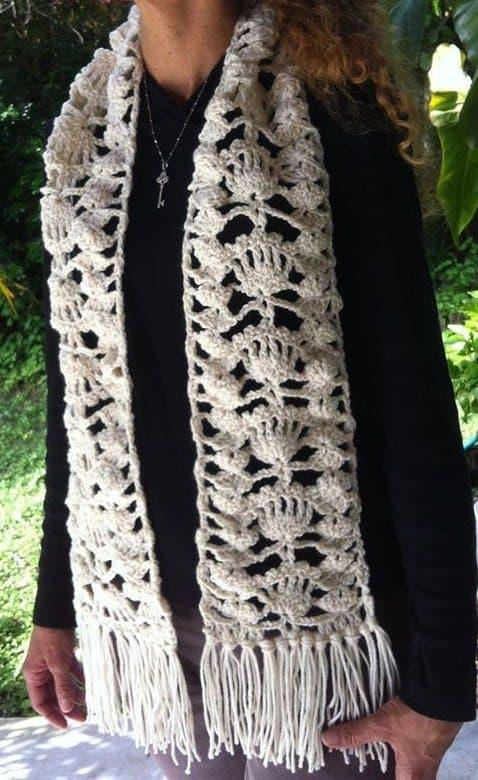 crochet fan scarf by inna
