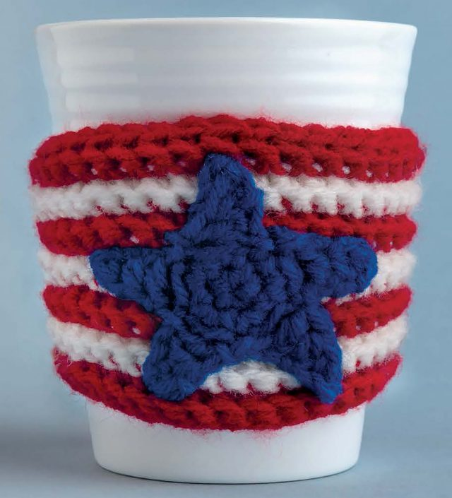 Small American Flag Crochet Pattern : Cup Cozies Crochet Book by Michele Wilcox