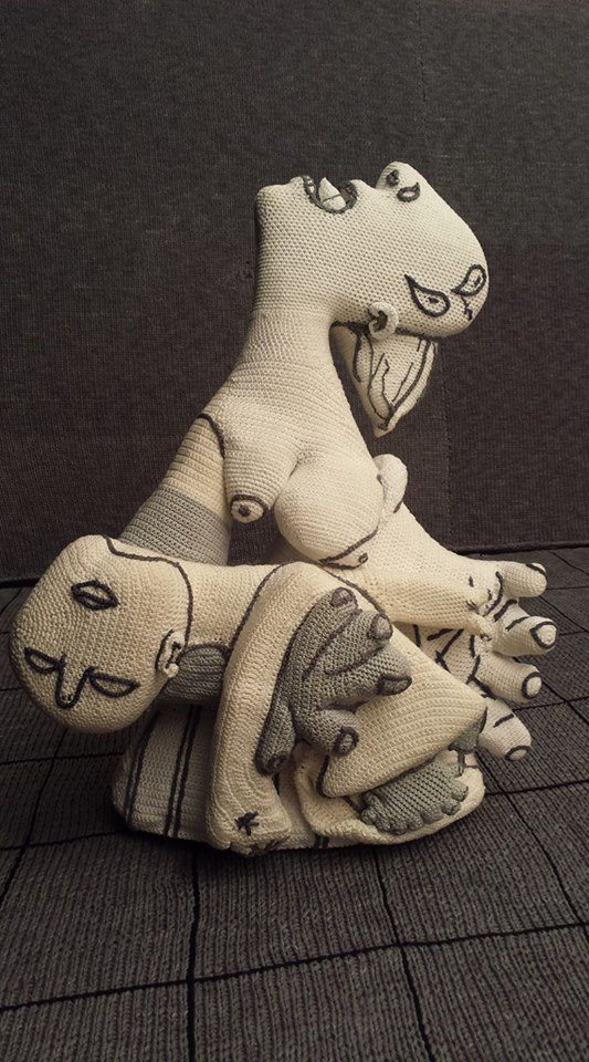 crochet art recreation of picasso's guernica