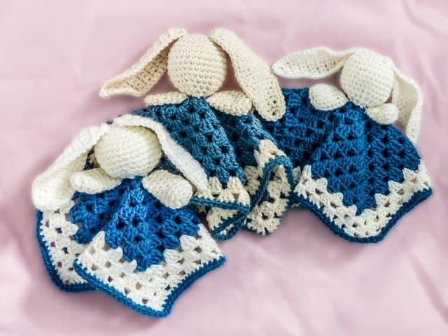 crochet bunny lovey blankets by erna