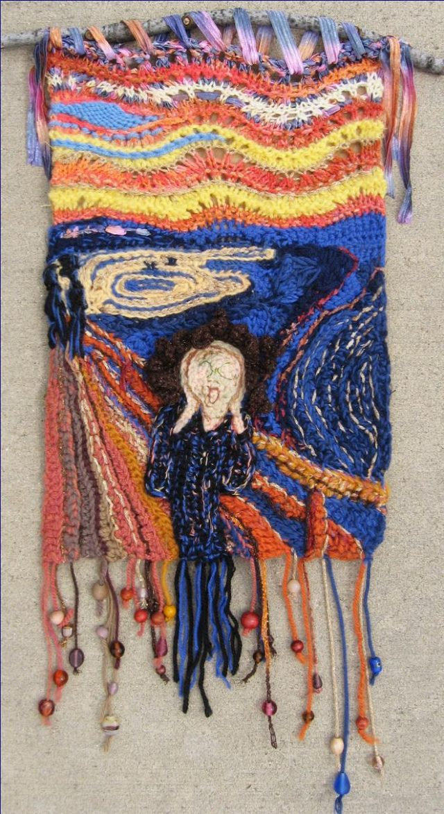 crochet munch scream wall hanging