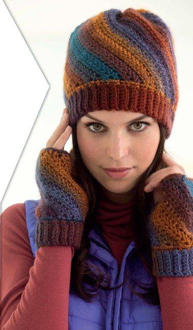 diagonal stripe crochet hat