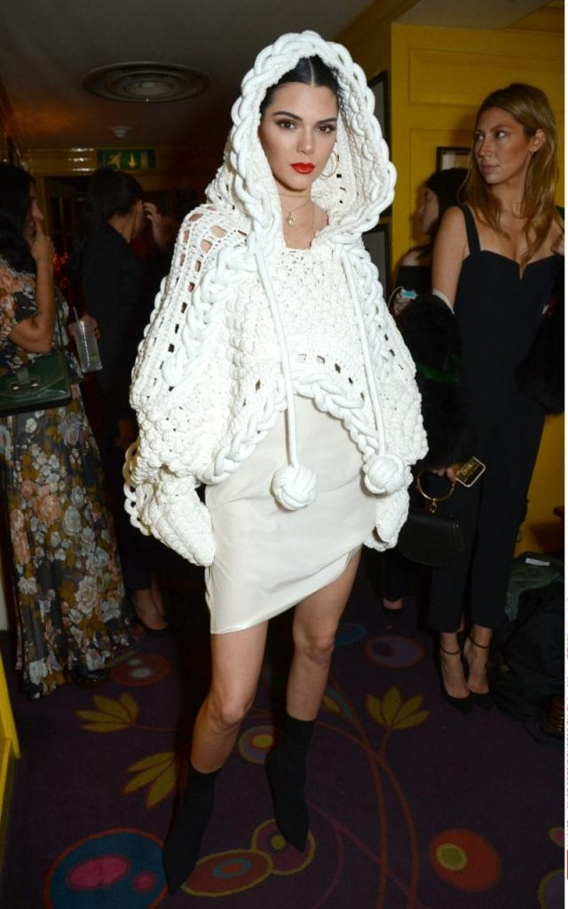 Kendall Jenner, crochet hoodie by Burberry