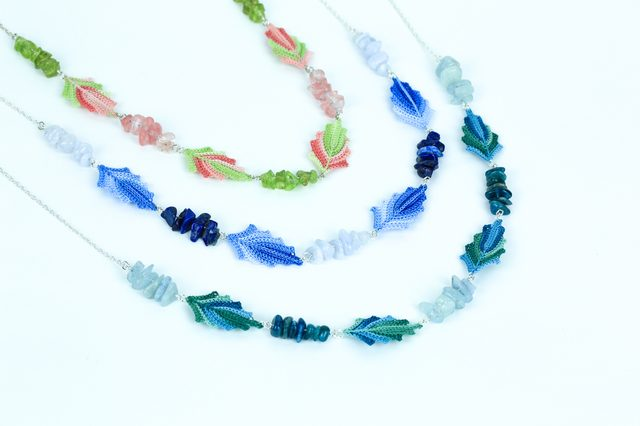 leaf crochet jewelry by red squirrel crafts