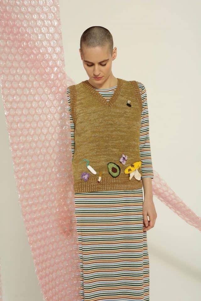 rachel antonoff sweater with crochet appliques