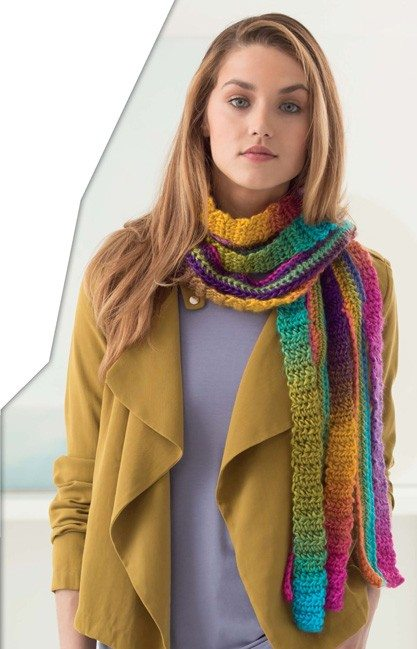 rainbow stripe crochet scarf