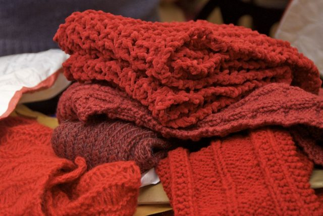 red scarf project charity crochet