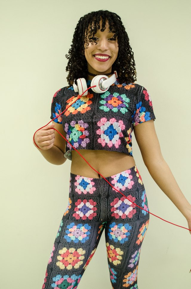 granny square print outfit