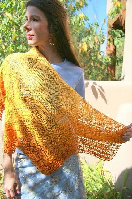 solar shawl crochet pattern by karen whooley
