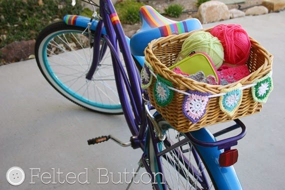 bike basket bunting free crochet pattern