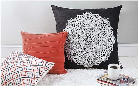 crochet doily pillow
