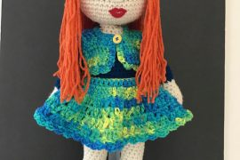 crochet doll in dress by maria cabriza