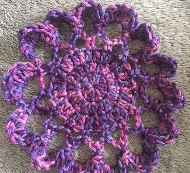 purple crochet flower for jenny