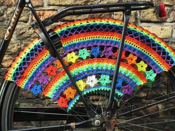 rainbow bicycle skirt guard crochet pattern