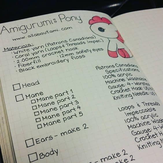 amigurumi pony bullet journal