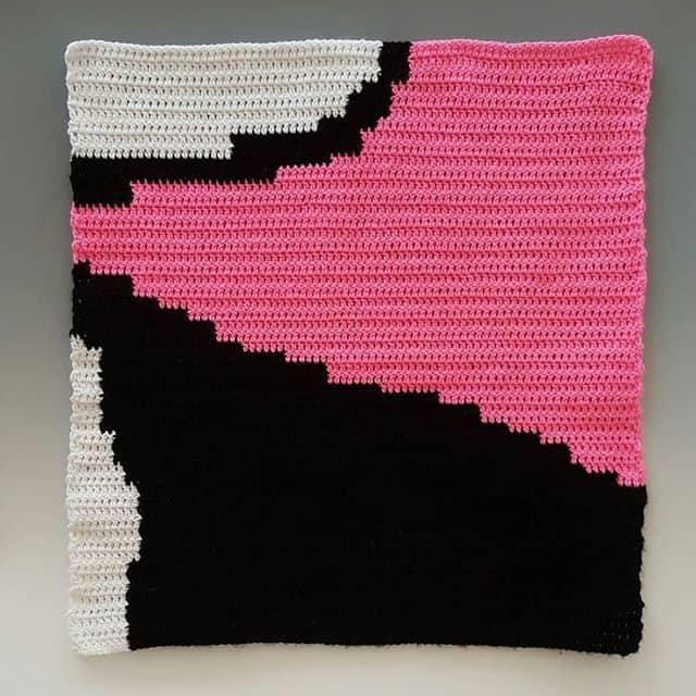 crochet art installation panel