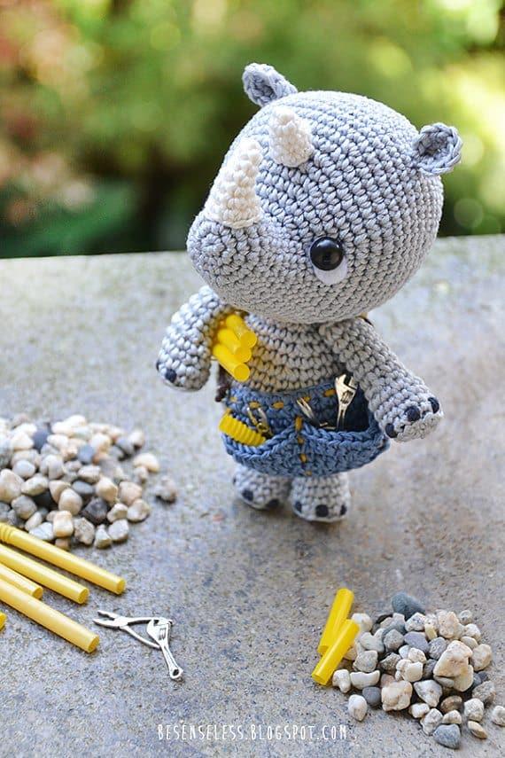 plumber rhino crochet pattern