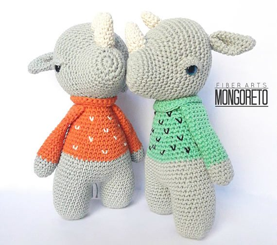 rhino amigurumi pattern with sweater